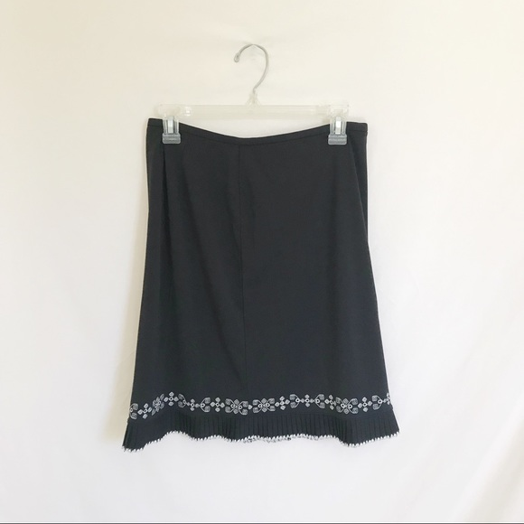 Ann Taylor Dresses & Skirts - Black Pleated and Embroidered Skirt